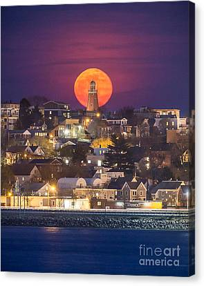 Full Moon Behind The Portland Observatory Canvas Print