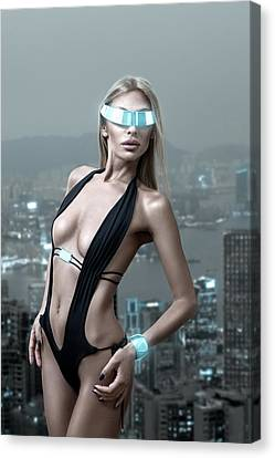 Futuristic Woman In Night City Canvas Print by Lana Poly