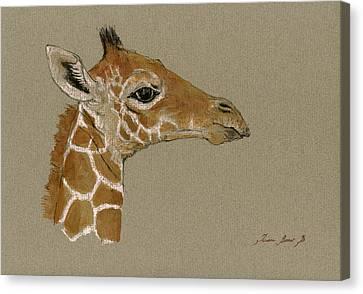 Giraffe Canvas Print - Giraffe Head Study  by Juan  Bosco
