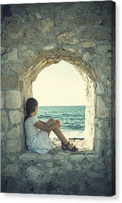 Girl At The Sea Canvas Print