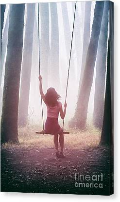Girl In Swing Canvas Print by Carlos Caetano