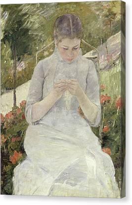 Girl In The Garden Canvas Print by Mary Cassatt
