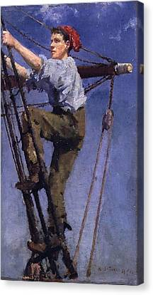 Canvas Print featuring the painting Going Aloft by Henry Scott Tuke