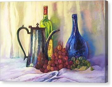 Still Life Of Wine And Grapes Canvas Print - Grapes by Sheliah Halderman