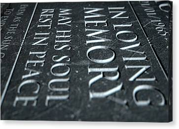 Gravestone In Loving Memory Canvas Print