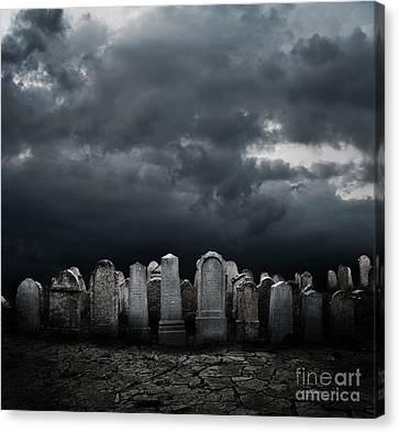 Gothic Poster Canvas Print - Graveyard by Jelena Jovanovic