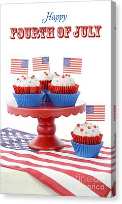 Happy Fourth Of July Cupcakes On Red Stand Canvas Print