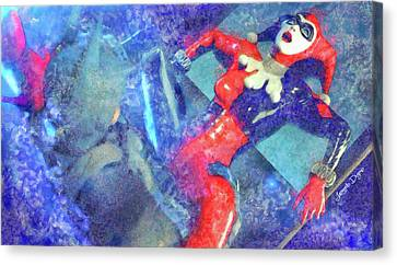 Asylum Canvas Print - Harley Quinn Fighting Batman - Watercolor Style by Leonardo Digenio