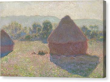 Haystacks Midday Canvas Print by Claude Monet