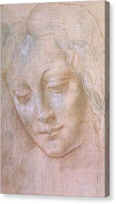 Head Of A Woman  Canvas Print by Leonardo da Vinci
