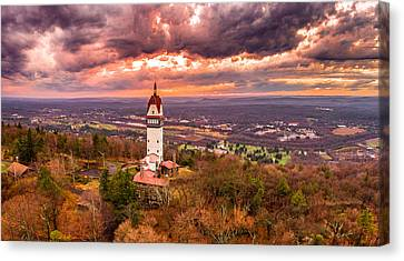 Heublein Tower, Simsbury Connecticut, Cloudy Sunset Canvas Print