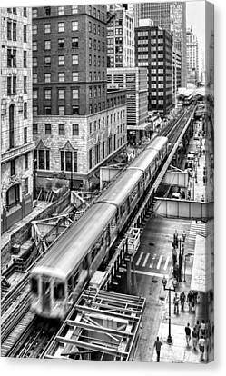 Historic Chicago El Train Black And White Canvas Print