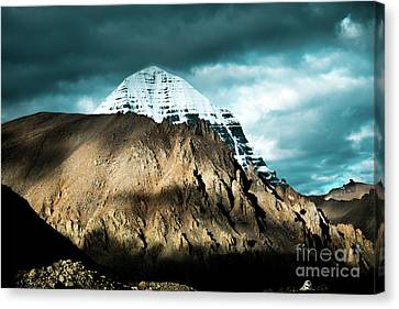 Holy Kailas East Slop Himalayas Tibet Yantra.lv Canvas Print by Raimond Klavins