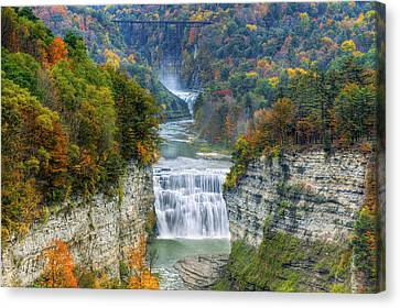 Hot Air Balloon Over The Middle Falls At Letchworth State Park Canvas Print