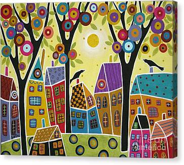 Houses Trees And Birds Canvas Print by Karla Gerard