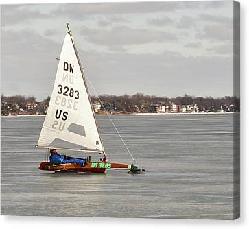 Ice Sailing - Madison, Wisconsin Canvas Print by Steven Ralser