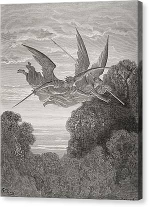 Guardian Angel Canvas Print - Illustration By Gustave Dore 1832-1883 by Vintage Design Pics