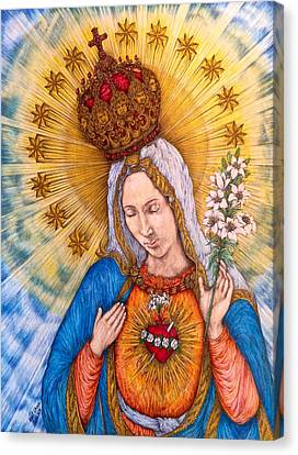 Immaculate Heart Of Virgin Mary Drawing Canvas Print by Kent Chua