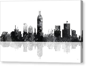 Indiana Indianapolis Skyline Canvas Print by Marlene Watson