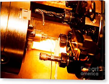 Industrial Cnc Drilling And Boring Machine At Work Canvas Print by Michal Bednarek