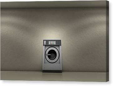 Industrial Washer In Empty Room Canvas Print by Allan Swart