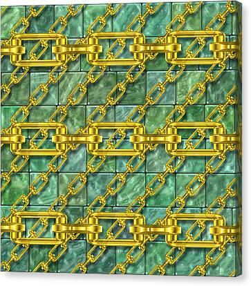 Iron Chains With Glazed Tiles Seamless Texture Canvas Print