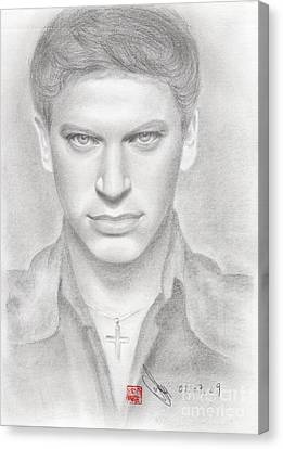 Canvas Print featuring the drawing Italian Singer Patrizio Buanne by Eliza Lo