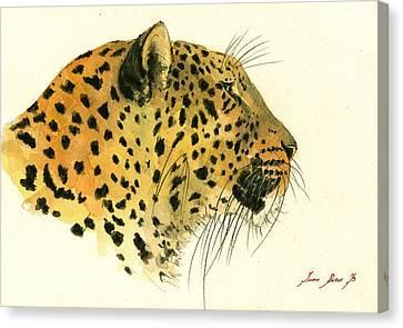 Jaguar Head Painting Watercolor Canvas Print