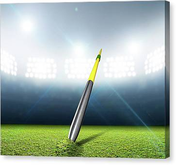 Javelin Canvas Print - Javelin In Generic Floodlit Stadium by Allan Swart