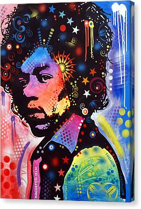 Canvas Print featuring the painting Jimi Hendrix by Dean Russo