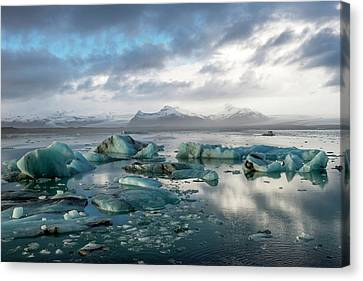 Canvas Print featuring the photograph Jokulsarlon, The Glacier Lagoon, Iceland 3 by Dubi Roman