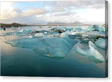 Canvas Print featuring the photograph Jokulsarlon The Glacier Lagoon, Iceland 2 by Dubi Roman