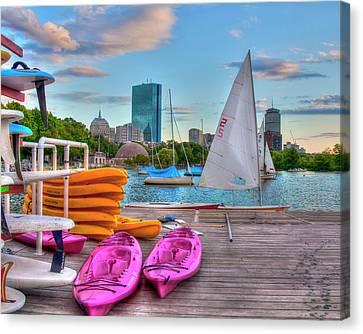 Kayaking On The Charles River - Boston Canvas Print by Joann Vitali