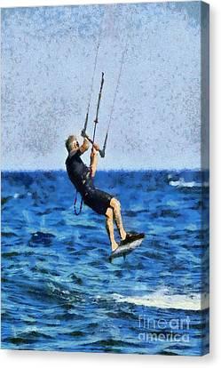 Kite Canvas Print - Kite Surfing by George Atsametakis