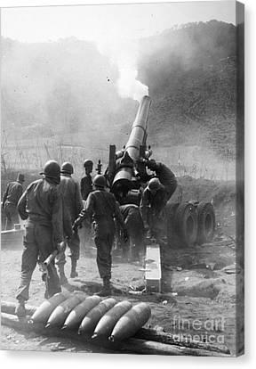 Korean War: Artillery Canvas Print by Granger