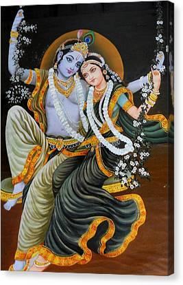 Krishna Radha On Silk Canvas Print by Rupali  Motihar
