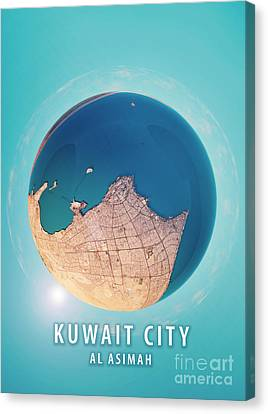 World Map Canvas Print - Kuwait City 3d Little Planet 360-degree Sphere Panorama by Frank Ramspott