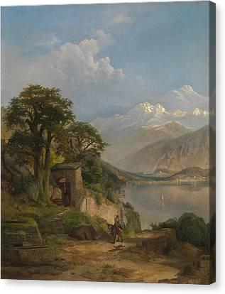 Lake Como Canvas Print by Thomas Moran