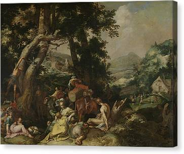 Landscape With The Ministry Of John The Baptist Canvas Print by Abraham Bloemaert
