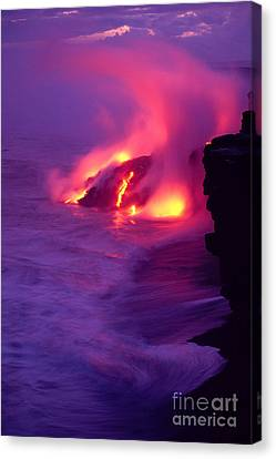 Lava Meets The Sea Canvas Print by William Waterfall - Printscapes