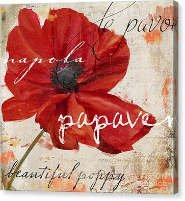Word Art Canvas Print - Le Pavot by Mindy Sommers