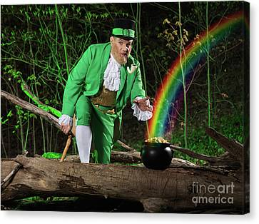 Leprechaun With Pot Of Gold Canvas Print by Oleksiy Maksymenko