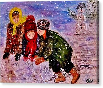 Canvas Print featuring the painting Let It Snow..let It Snow..  by Cristina Mihailescu