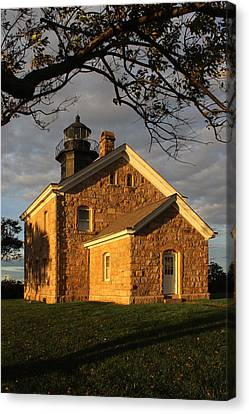 Lighthouse Old Field Point New York Canvas Print by Bob Savage