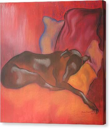 Greyhound Canvas Print - Lily Sleeping by Beryl Stewart