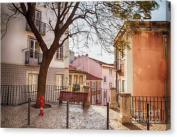 Canvas Print featuring the photograph Lisbon's City Street by Ariadna De Raadt