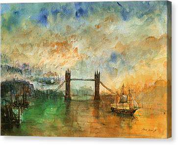 London Watercolor Painting Canvas Print by Juan  Bosco