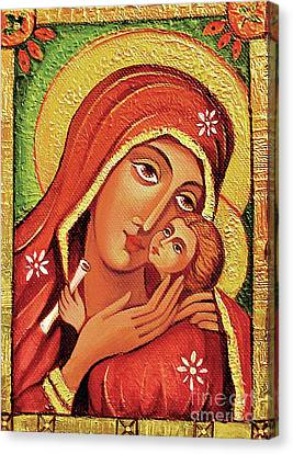 Canvas Print featuring the painting Madonna And Child by Eva Campbell