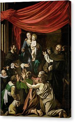 Madonna Of The Rosary Canvas Print by Caravaggio