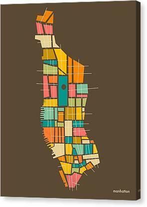 Manhattan Map Canvas Print by Jazzberry Blue